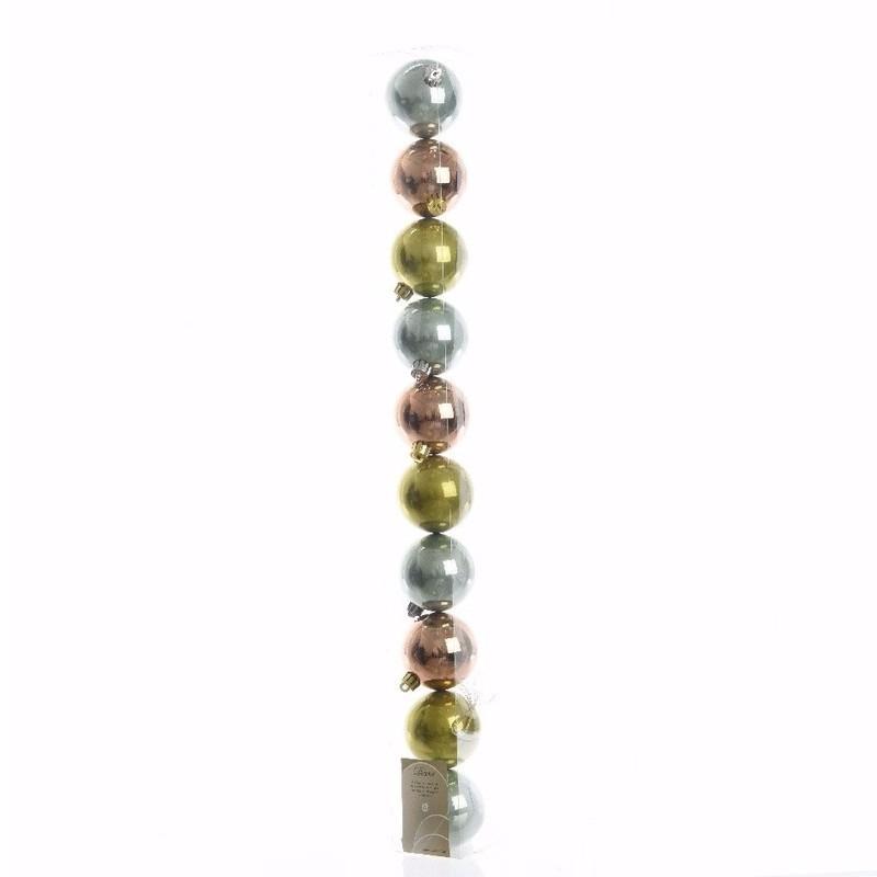 Nature Christmas groene-zilveren-bronzen kerstversiering glanzende kerstballen pakket 10 stuks