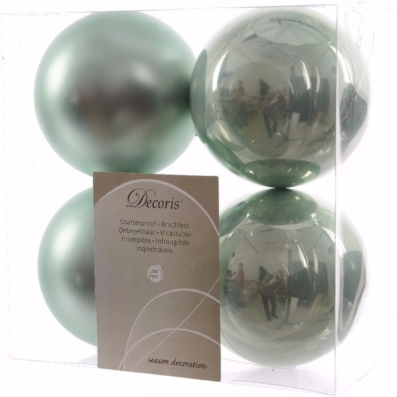 Nature Christmas mint groene kerstversiering kerstballen pakket 4 stuks