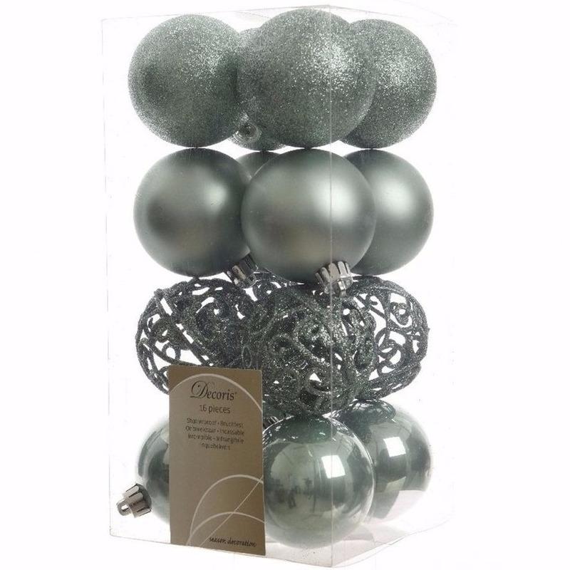 Nature Christmas mintgroene kerstversiering kerstballen pakket 16 stuks