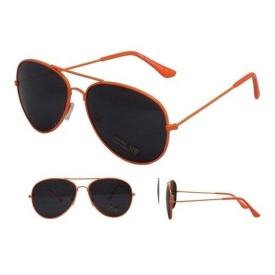 Neon oranje aviator bril voor dames-heren