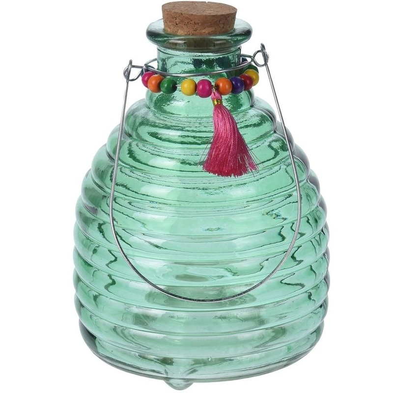 Tuin artikelen Geen Ophangbare wespenval groen glas 18 cm