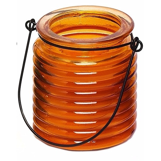 Oranje anti muggen kaars in glazen potje Geen Tuin artikelen