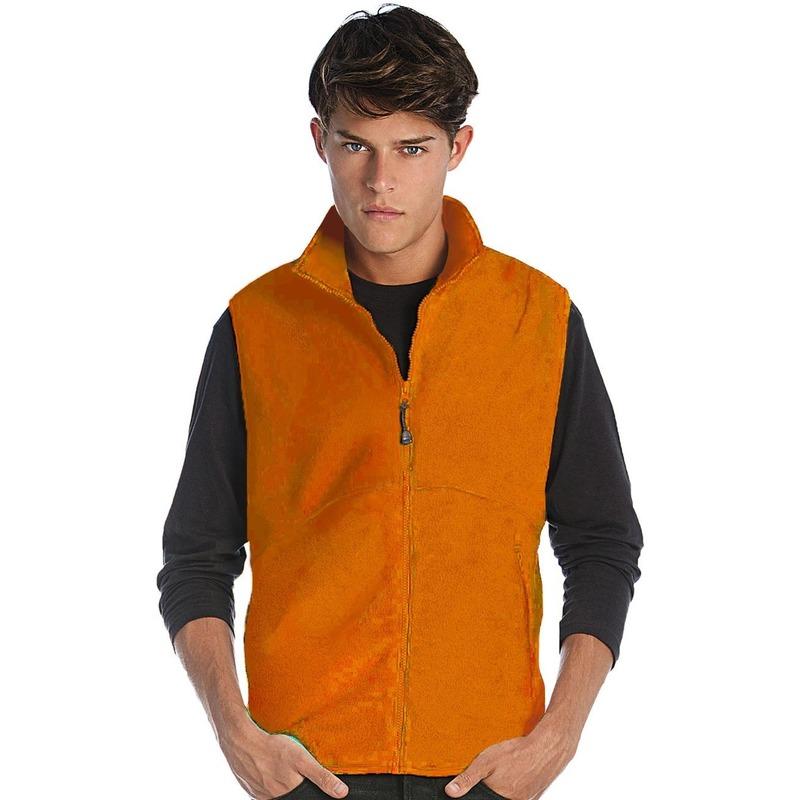 Oranje fleece sport bodywarmers voor heren