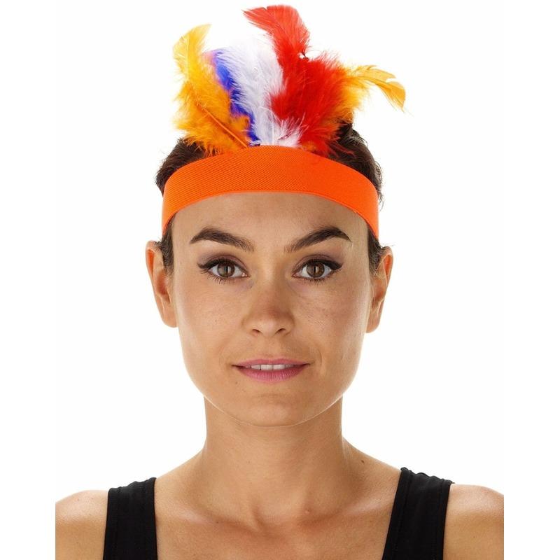 Oranje indianentooien hoofdbanden voor dames