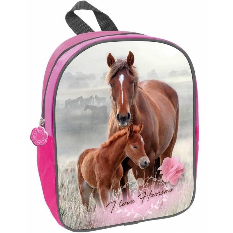 Paard en veulen I love horses kleuter-peuter schooltasje roze 29 x 23 x 10 cm