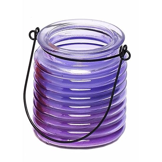 Tuin artikelen Geen Paarse anti muggen kaars in glazen potje