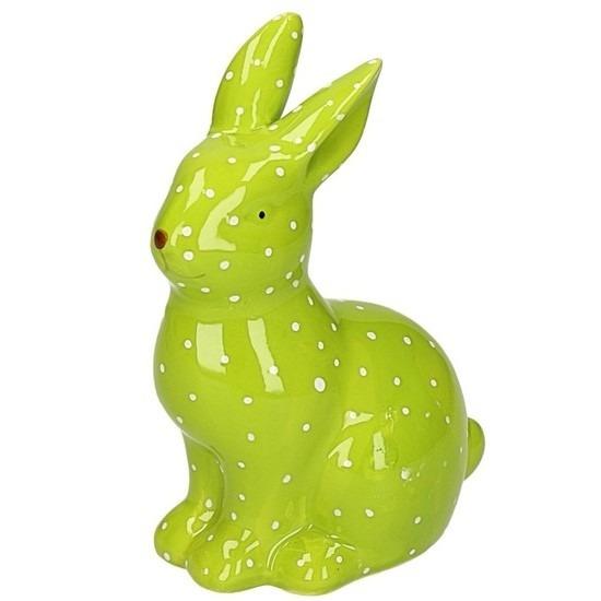 Pasen decoratie haasje-konijntje beeld groen 15 cm