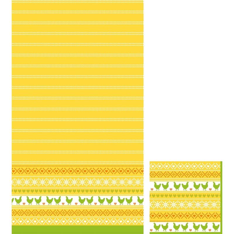 Pasen thema feest servetjes en tafellakens-tafelkleden kip print geel-oranje-groen