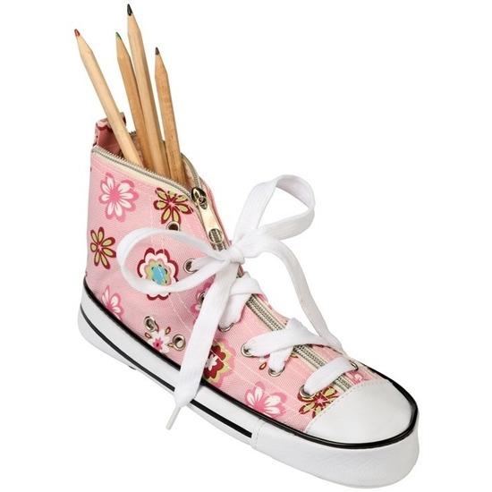 Pennen-potloden etui sneaker roze 24,5 cm