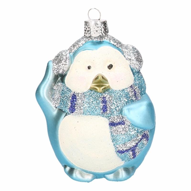 Pinguin kerstballen blauw 8 cm