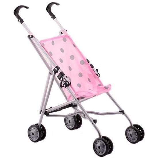 Poppenwagen buggy roze met stippen