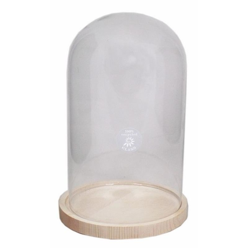 Presentatie glazen cloche-kap-stolp 30 cm