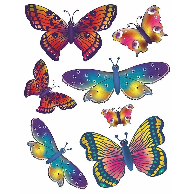 Raamdecoratie sticker vlinders 2x velletjes