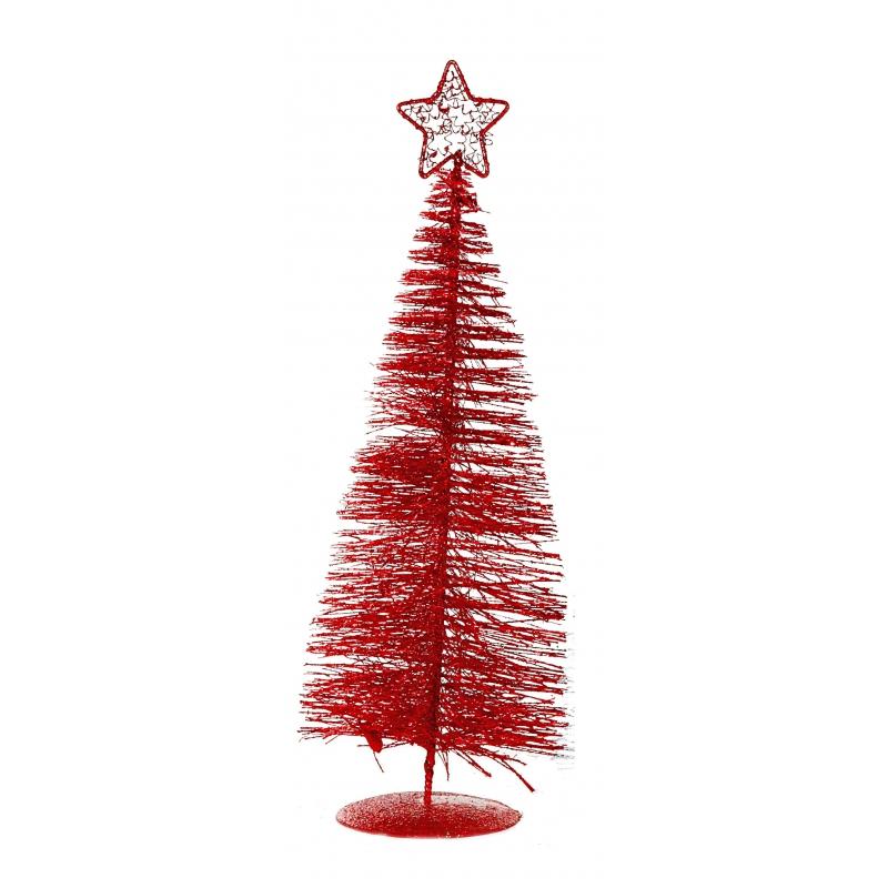 Rode plastic kerstbomen 21 cm