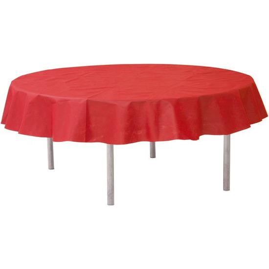 Rode tafeldecoratie versiering rond stoffen tafelkleed 240 cm