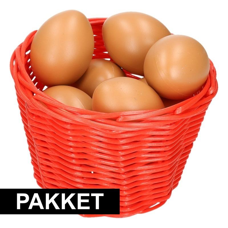 Rood paasmandje met eieren 14 cm