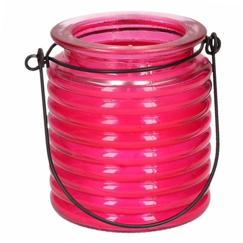 Tuin artikelen Geen Roze anti muggen kaars in glazen potje