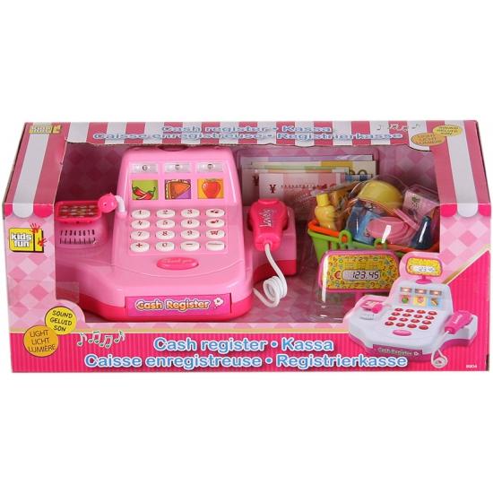 Roze kassa speelset met boodschappen en scanner