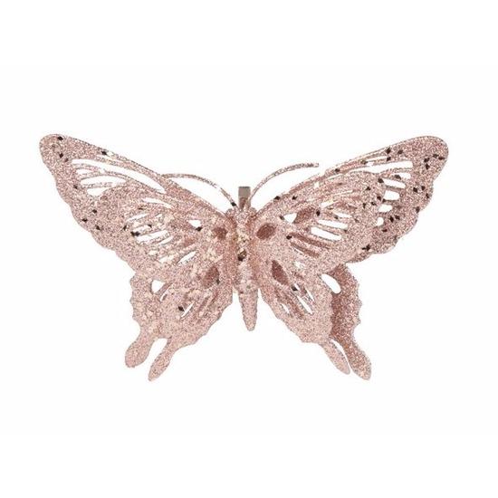 Roze kerstboom versiering vlinder 15 cm