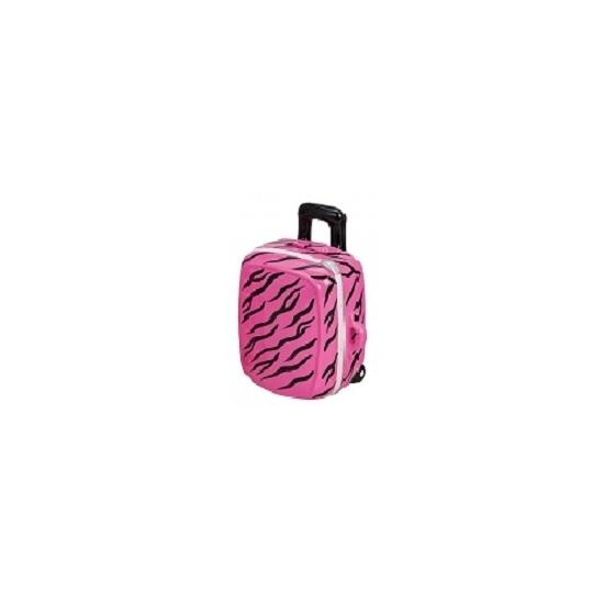 Roze spaarpot koffertje 15 cm