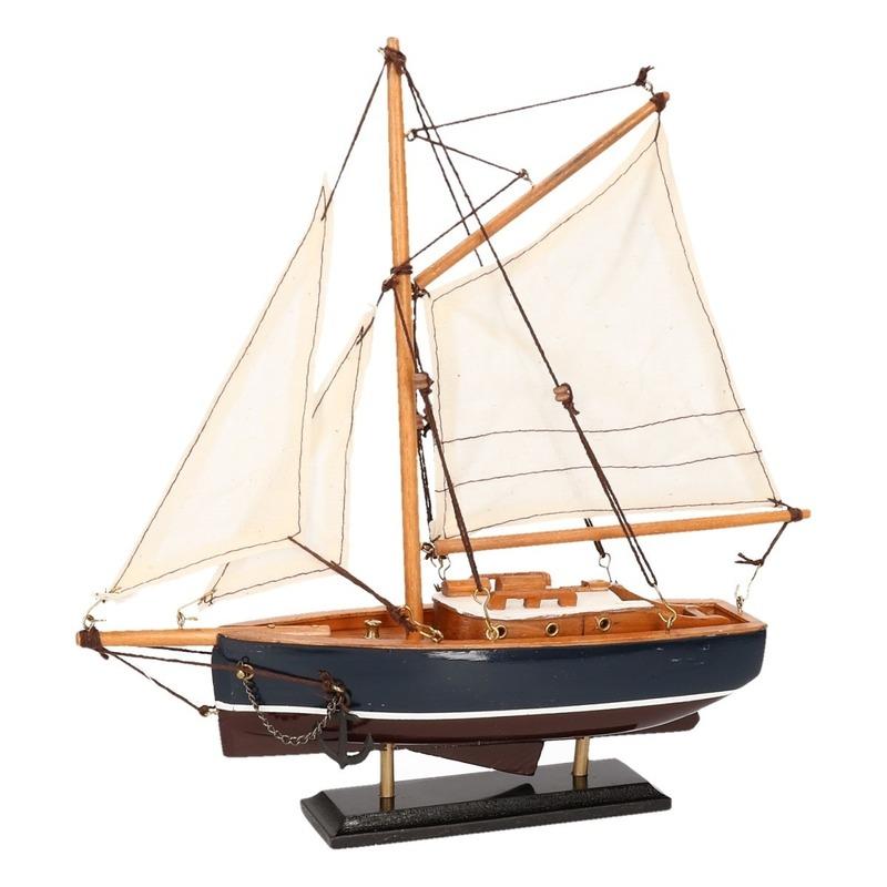 Schaalmodel boot donkerblauw 23 cm