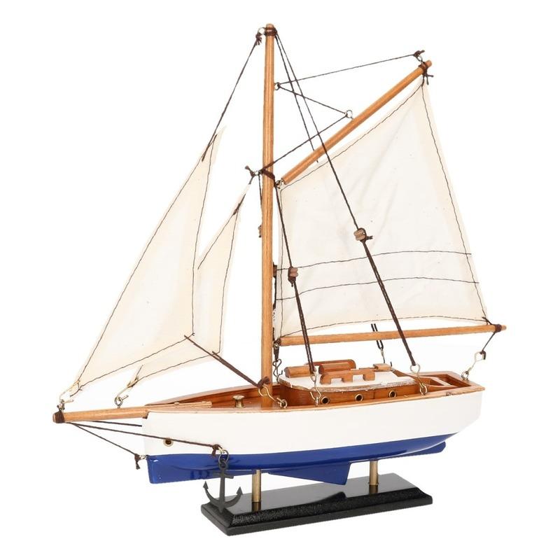 Schaalmodel boot donkerblauw-wit 23 cm