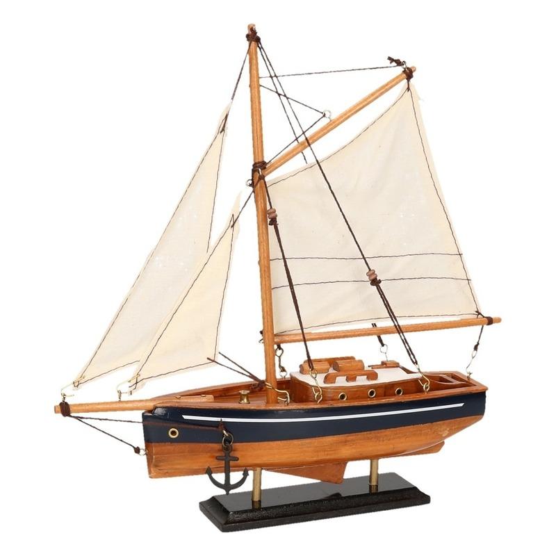 Schaalmodel boot hout-blauw 23 cm
