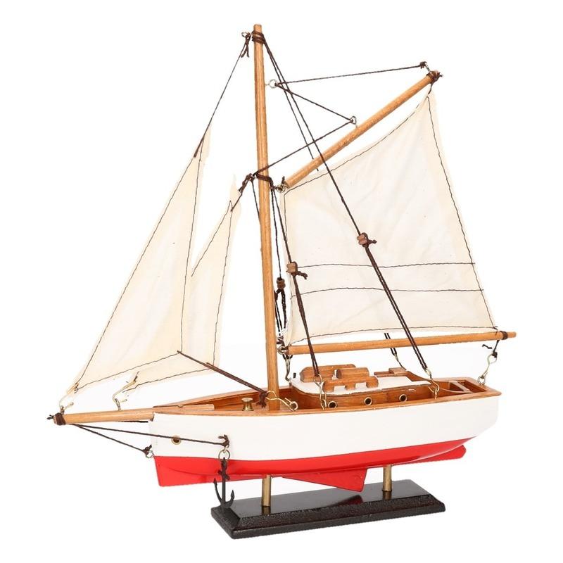 Schaalmodel boot rood-wit 23 cm