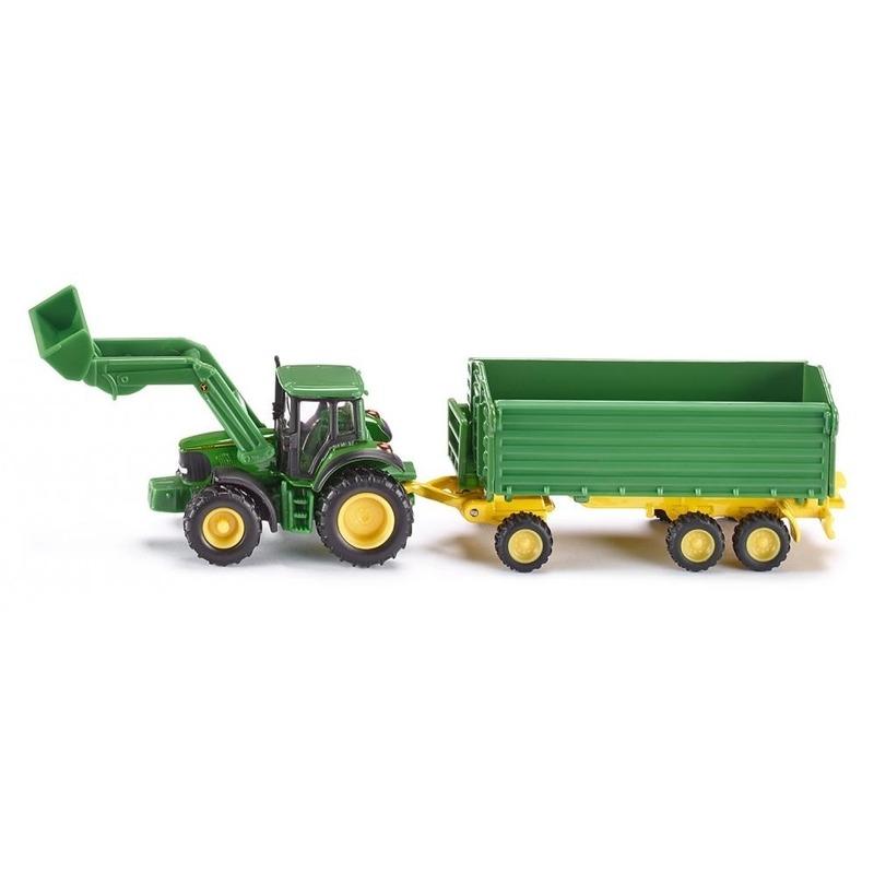 Speelgoed auto John Deere tractor inclusief aanhanger