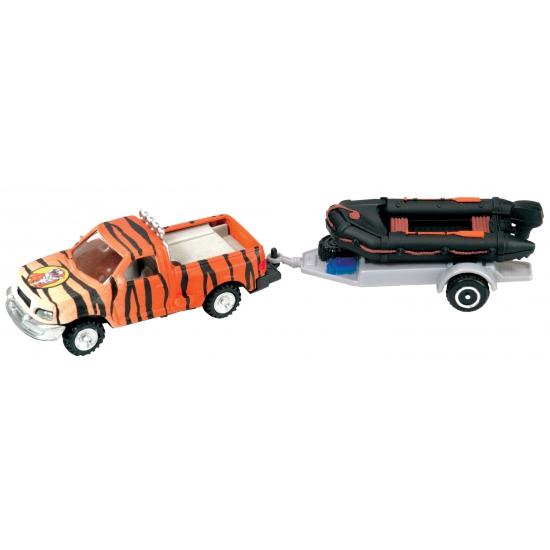Speelgoed auto met tijgerprint en trailer