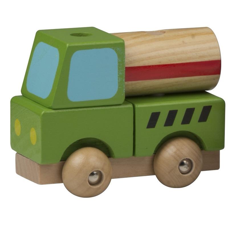Speelgoed beton auto hout 9 cm