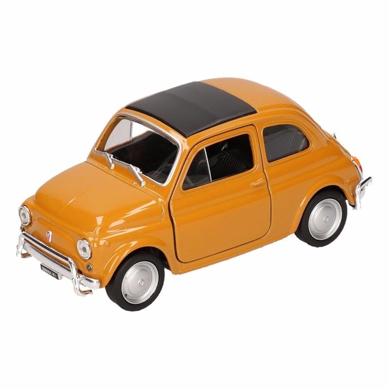 Speelgoedauto Fiat 500 classic geel 12 cm