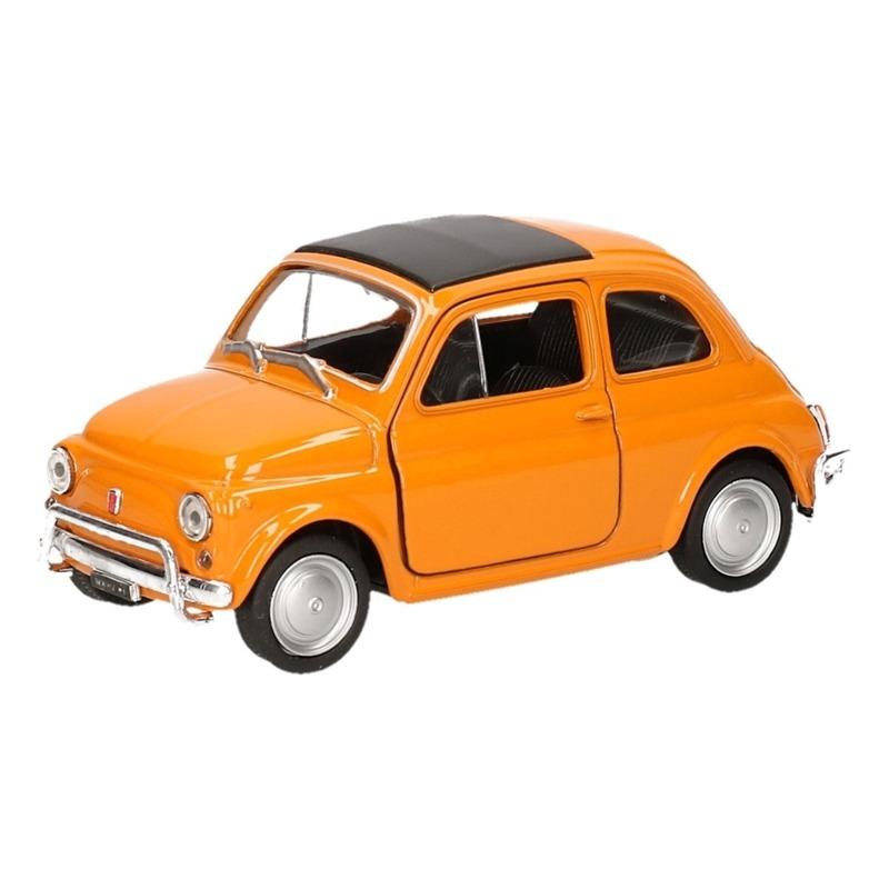 Speelgoedauto Fiat 500 classic oranje 12 cm