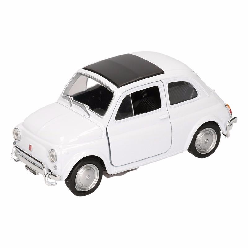 Speelgoedauto Fiat 500 classic wit 10,5 cm