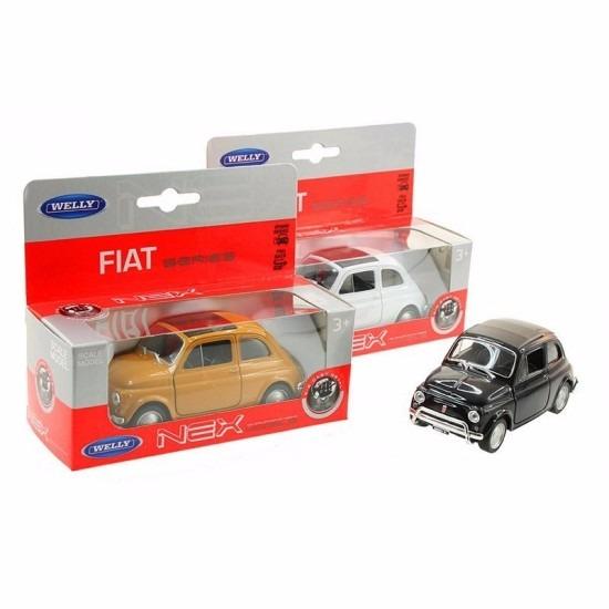 Speelgoedauto Fiat 500 classic wit 12 cm