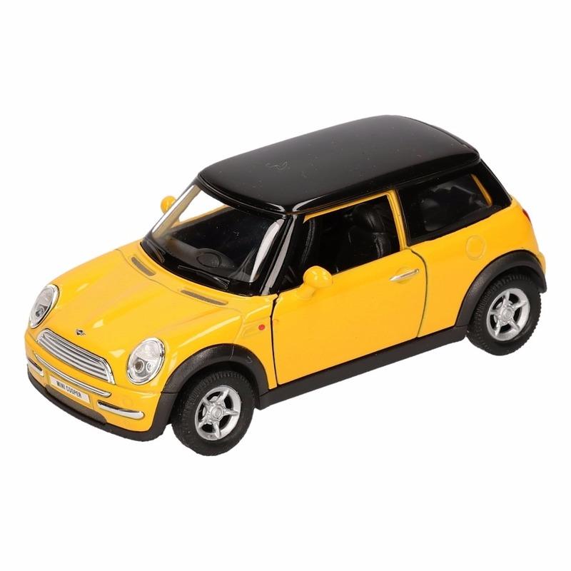 Speelgoedauto Mini Cooper geel 11 cm