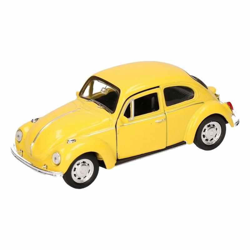 Speelgoedauto Volkswagen Kever classic geel 14,5 cm