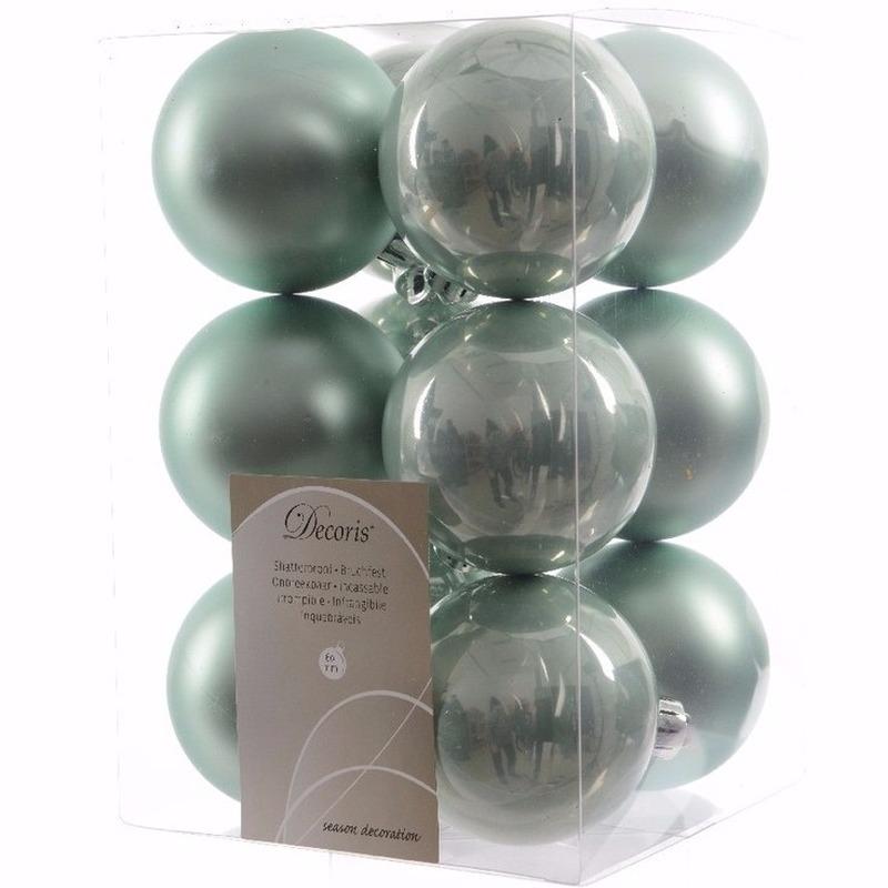 Sweet Christmas mintgroene kerstversiering kerstballen pakket 12 stuks