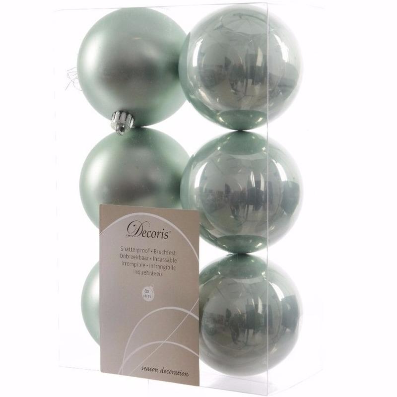 Sweet Christmas mintgroene kerstversiering kerstballen pakket 6 stuks