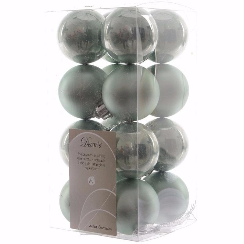 Sweet Christmas mintgroene kerstversiering kleine kerstballen pakket 16 stuks