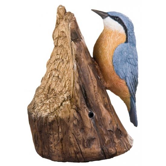 Tuin decoratie vogel boomklever met geluid 12,5 cm