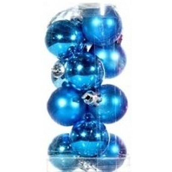 Turquoise mini kerstballen 12 stuks
