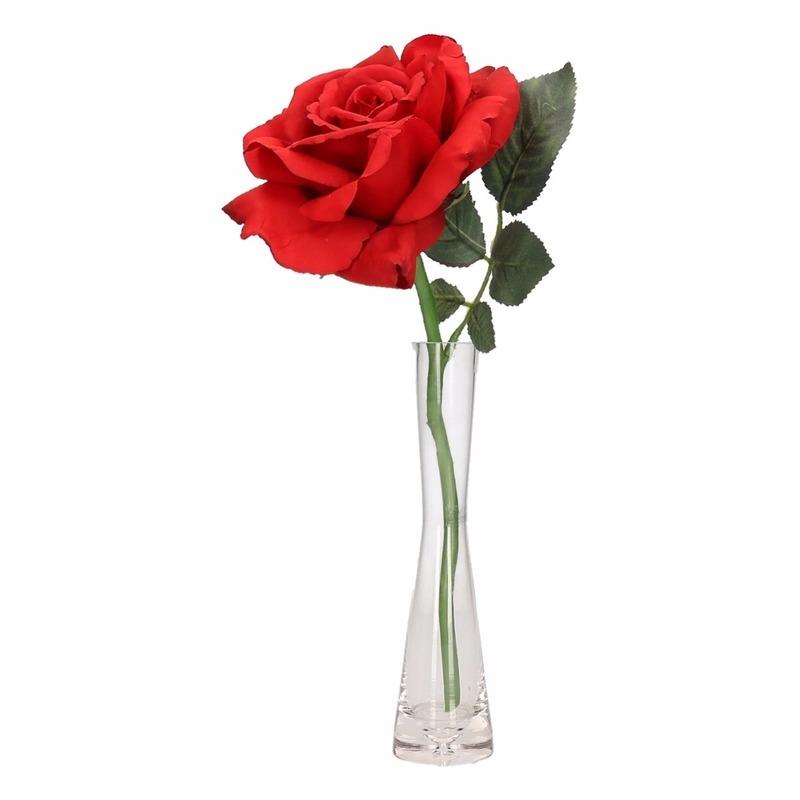 Vensterbank decoratie rode luxe roos in vaas 31 cm