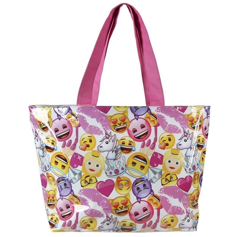 Wit-roze emoji schoudertas voor meisjes 48 cm