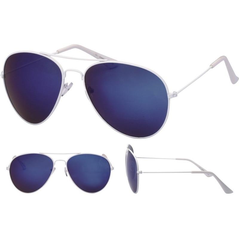 Witte aviator bril voor dames-heren