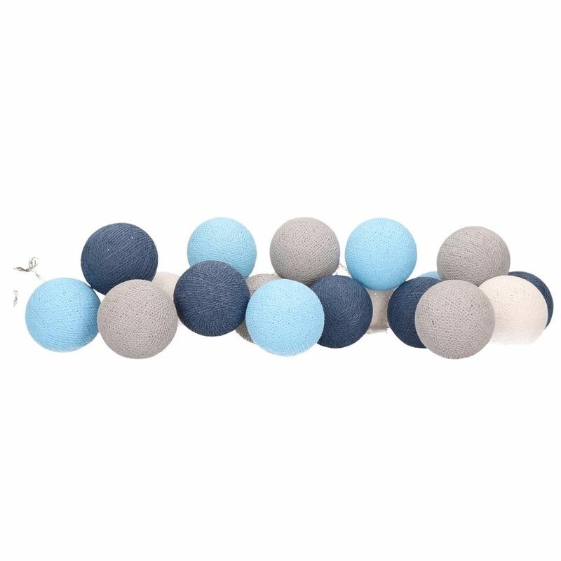 Woondecoratie lichtsnoer blauw-grijs-wit