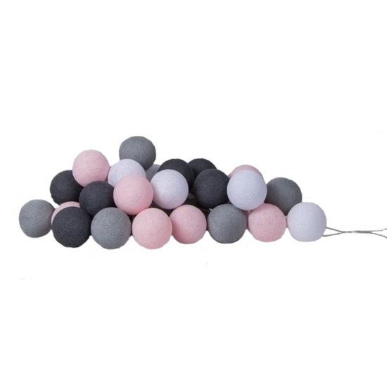 Woondecoratie lichtsnoer roze-grijs tinten
