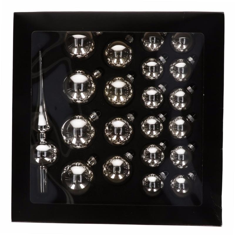 Zilveren glazen kerstballen 21 stuks