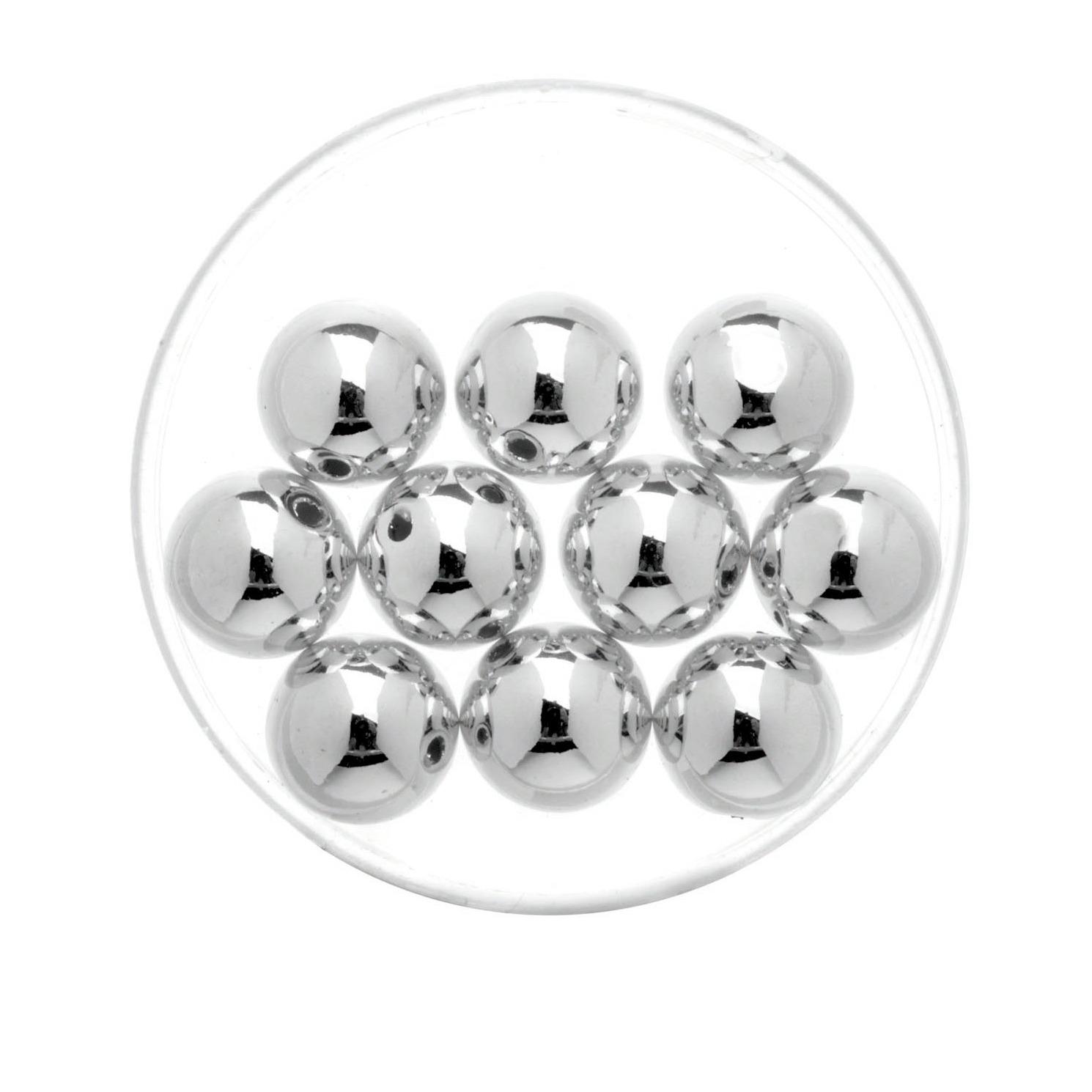 10x stuks metallic sieraden maken kralen in het zilver van 10 mm