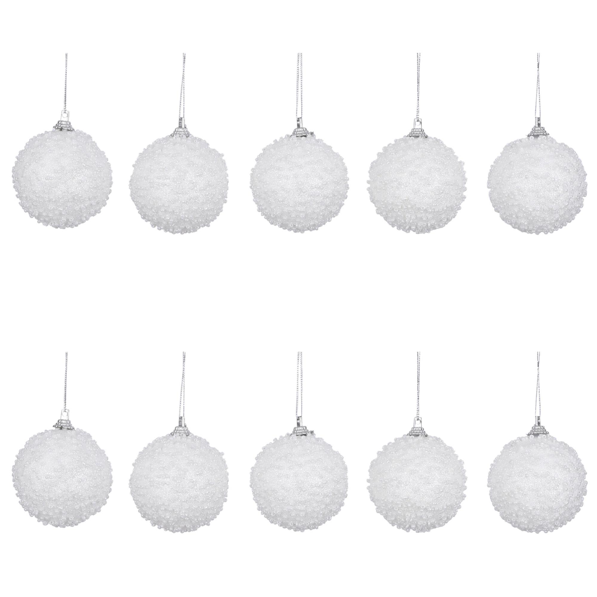 10x Witte sneeuwballen kerstballen van foam 6 cm